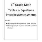 5th Grade Math Relationships in Tables & Equations