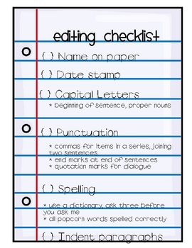 6 + 1 Traits Revision and Editing questions/checklist **FREE