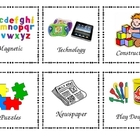 60 Literacy and Math Center Labels