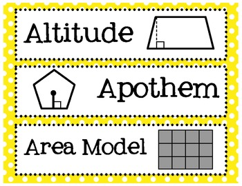 6th, 7th and 8th Grade Math Common Core Word Wall Words- P