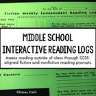 6th Grade Interactive Reading Log: Common Core Aligned