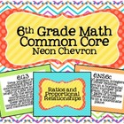 6th Grade Math Common Core Posters- Neon Chevron Design!
