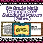 6th Grade Math Common Core Posters- Zebra Pattern Design!