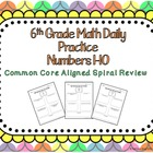 6th Grade Math Daily Practice Numbers 1-10 Common Core Ali