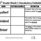 6th Weekly Vocabulary Foldable
