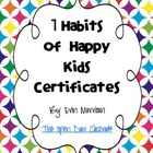 7 Habits of Happy Kids Certificates