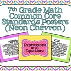 7th Grade Common Core Math Standards Posters- Neon Chevron