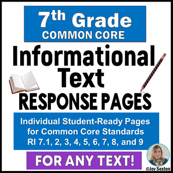 Common Core Informational Text - Student Response Pages fo