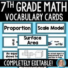 7th Grade Math Common Core Vocabulary Cards