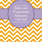 7th Grade Ratios and Proportional Relationships Unit Test