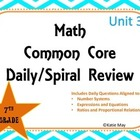 7th Grade Unit Three Daily Spiral Review for Interactive Boards