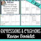 8th Grade Common Core Expressions and Equations Review Booklet