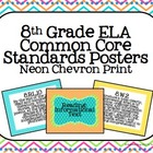 8th Grade ELA Common Core Posters- Neon Chevron Print!