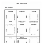 9 square Activity- Stage Terms