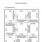 9 square activity- Baseball positions