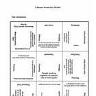 9 square activity- Basketball terms 2