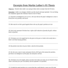 95 Theses - Martin Luther - What do the theses mean worksheet