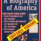 A Biography of America -- Worksheets and Quiz + free video link