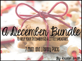 A December Bundle- 7 Math and Literacy Packs in ONE!