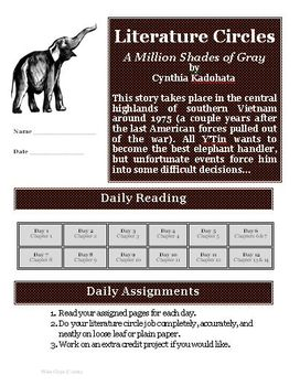 A Million Shades of Gray Literature Circle Reading Activity