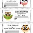 A Note from Your Teacher: Owl Themed Parent-Teacher Notes