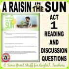 A Raisin in the Sun Act 1, Evaluation or Close Reading Activity