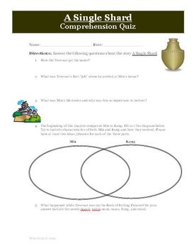 A Single Shard by Linda Sue Park Reading Comprehension Quiz
