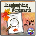 A Thanksgiving Word Search