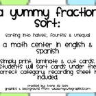A Yummy Fraction Sort (sorting shapes into halves, fourths