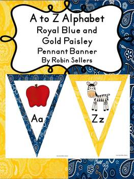 A to Z Alphabet Posters or Banner in Blue and Gold Paisley