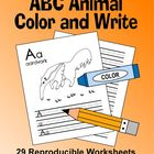 ABC Animal Handwriting Worksheets / Alphabet Coloring Sheets