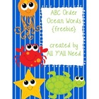 ABC Order Ocean Words {freebie}