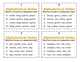 ABC Order - Task Cards