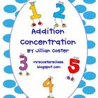 ADDITION FACTS CONCENTRATION!  An Addition Game!