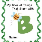 ALPHABET BOOK for LETTER B Letter-Sound-Object Recognition