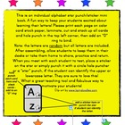 ALPHABET LETTERS (STICKER/PUNCH) MINI BOOK