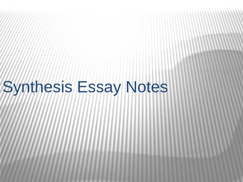 Sources for Synthesis Essay Template