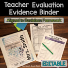 Editable Danielson Teacher Evaluation Organizers for APPR