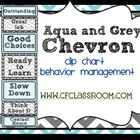 AQUA & GREY CHEVRON THEME CLIP CHART / BEHAVIOR PLAN