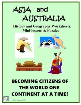 ASIA, INDIA & AUSTRALIA History & Geography Puzzles/Worksheets