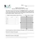 Absolute Value Graphing Calculator Investigation