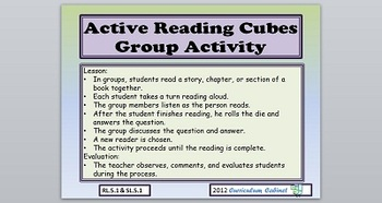 Active Reading Cube Group Activities CCSS RL.5.1 & SL.5.1