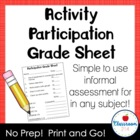 Activity Participation Grade Sheet