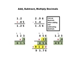 Add, Subtract, Multiply with Decimals Aid