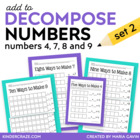Add to Decompose Hands-on Practice for Numbers 4, 7, 8, an