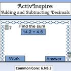 Decimals (Adding and Subtracting) ActivInspire Flipchart  6.NS.3