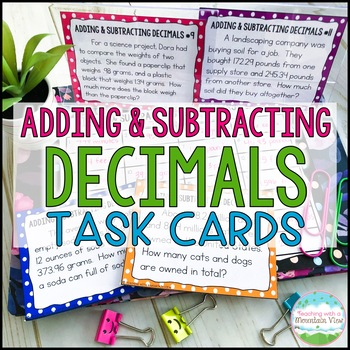 Adding and Subtracting Decimals Task Cards Word Problems for Common Core