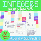 Adding and Subtracting Integers Game Board