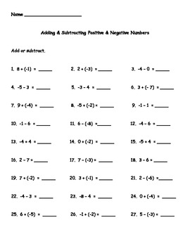 Printables Adding Positive And Negative Numbers Worksheet adding negative numbers worksheet davezan and subtracting positive