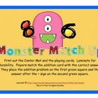 Addition Center - Simple Addition Problems - Monster Match Up